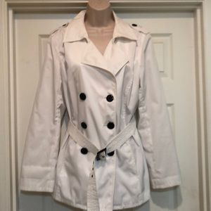 Style&Co Double Breasted White Trench Size S